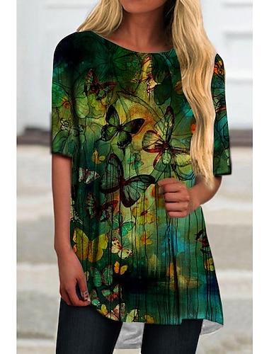 Dámské Tričkové šaty Krátké mini šaty Trávová zelená Poloviční rukáv Tisk Motýl Zvíře Tisk Jaro Léto Kulatý Na běžné nošení Dovolená 2021 S M L XL XXL 3XL