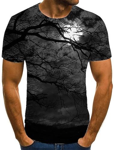 Homens Unisexo Camisetas Camiseta Camisa Social Impressao 3D Estampas Abstratas Arvore Tamanhos Grandes Estampado Manga Curta Casual Blusas Basico Moda Designer Grande e Alto Decote Redondo Preto