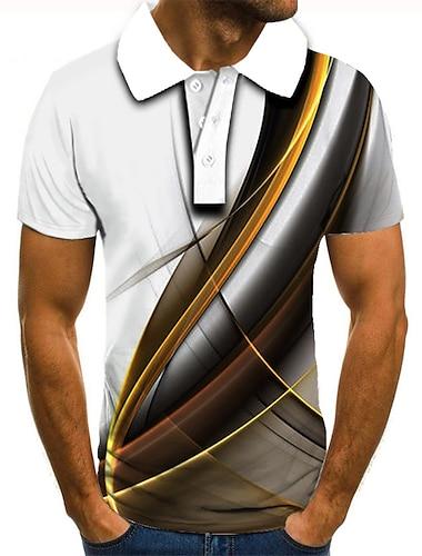 בגדי ריקוד גברים יוניסקס חולצת גולף חולצת טניס הדפסת תלת מימד הדפסים גרפיים ישר כפתור למטה שרוולים קצרים רחוב צמרות בסיסי יום יומי אופנתי מעצב לבן / ספורט