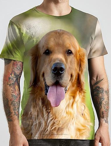 Herren Unisex Tee T-Shirt Hemd 3D-Druck Hund Grafik-Drucke Tier UEbergroessen Druck Kurzarm Normal Oberteile Modisch Designer Gross und hoch Rundhalsausschnitt Gruen / Sport / Sommer