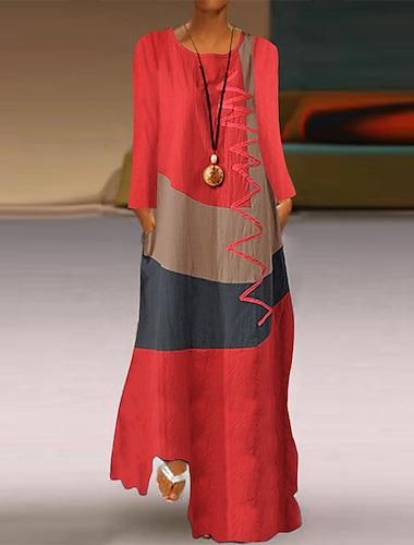 Γυναικεία Φόρεμα ριχτό από τη μέση και κάτω Μακρύ φόρεμα Γκρίζο Χακί Λευκό Ρουμπίνι Μακρυμάνικο Συνδυασμός Χρωμάτων Γεωμετρικό Μπλοκ χρωμάτων Άνοιξη Καλοκαίρι Στρογγυλή Λαιμόκοψη / Φαρδιά