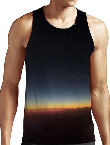 Hombre Unisexo Camiseta sin mangas Camisetas Interiores Impresion 3D Galaxia Estampados Tallas Grandes Estampado Sin Mangas Casual Tops Basico De Diseno Grande y alto Negro