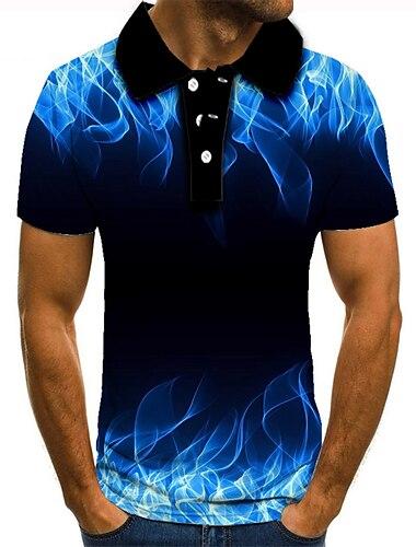 Hombre Camiseta de golf Camiseta de tenis Impresion 3D Estampados Fuego Abotonar Manga Corta Calle Tops Casual Moda Fresco Azul Piscina / Deportes