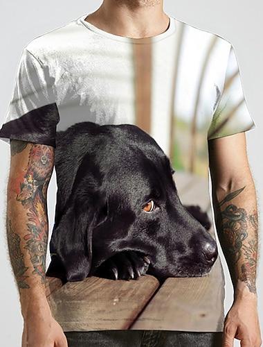 Herren Unisex Tee T-Shirt Hemd 3D-Druck Hund Grafik-Drucke Tier UEbergroessen Druck Kurzarm Normal Oberteile Modisch Designer Gross und hoch Rundhalsausschnitt Schwarz / Sport / Sommer