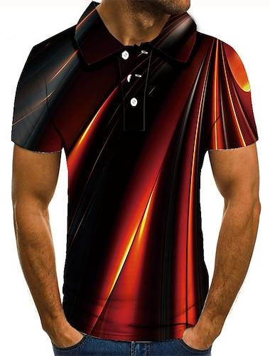 Hombre Camiseta de golf Camiseta de tenis Impresion 3D Estampados Lineal Abotonar Manga Corta Calle Tops Casual Moda Fresco Negro / Deportes