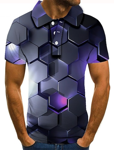 男性用 ゴルフシャツ テニスシャツ 3Dプリント 3D グラフィック ボタンダウン 半袖 ストリート トップの カジュアル ファッション クール グレー / スポーツ