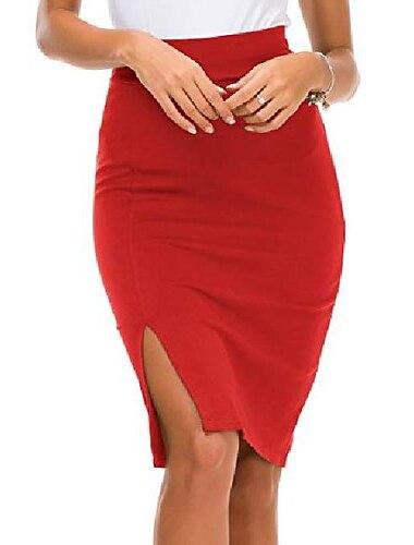 dámská elastická sukně do pasu s bočním rozparkem a bodycon tužkovou sukní (l, červená)