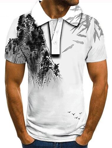 Hombre Camiseta de golf Camiseta de tenis Impresion 3D Estampados Pintura en tinta Abotonar Manga Corta Calle Tops Casual Moda Fresco Blanco / Deportes