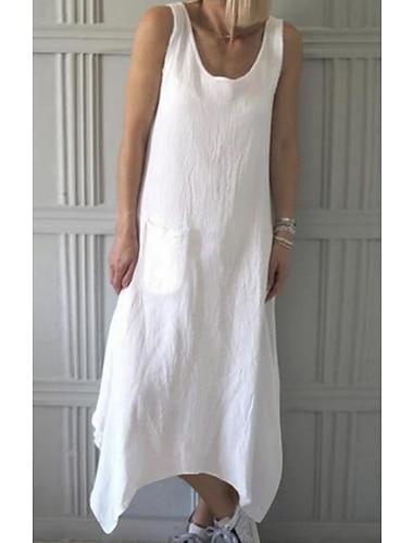 Γυναικεία Φόρεμα ριχτό Μακρύ φόρεμα Θαλασσί Λευκό Αμάνικο Συμπαγές Χρώμα Κουρελού Άνοιξη Καλοκαίρι Στρογγυλή Λαιμόκοψη Καθημερινό Φαρδιά 2021 M L XL XXL 3XL 4XL 5XL / Βαμβάκι