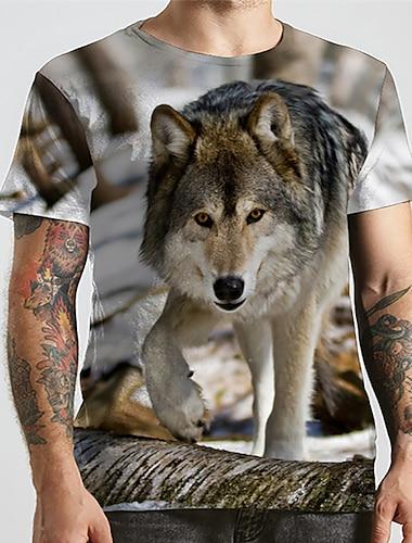 Pánské Unisex Trička Tričko Košile 3D tisk Grafické tisky Vlk Zvíře Větší velikosti Tisk Krátký rukáv Ležérní Topy Základní Designové Velký a vysoký Kulatý Duhová / Léto