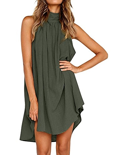 Γυναικεία Φόρεμα ριχτό Φόρεμα μέχρι το γόνατο Κίτρινο Πράσινο του τριφυλλιού Λευκό Μαύρο Αμάνικο Συμπαγές Χρώμα Κρύος ώμος Καλοκαίρι Ζιβάγκο Βασικό Καθημερινό Σέξι Φαρδιά 2021 Τ M L XL