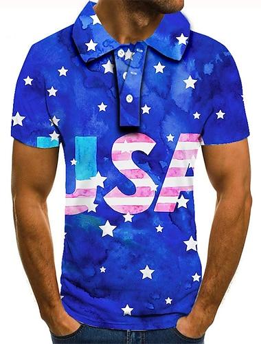 Men\'s Golf Shirt Tennis Shirt 3D Print Graphic Prints Star American Flag Button-Down Short Sleeve Street Tops Casual Fashion Cool Blue / Sports