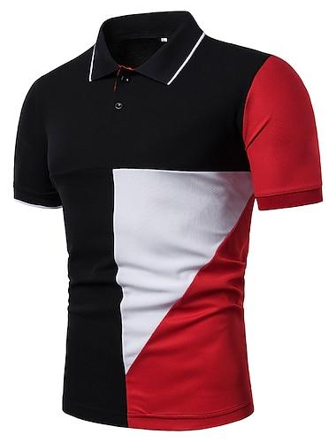 Miesten Golfpaita T-paita Tilkkutäkki Lyhythihainen Päivittäin Topit Musta Rubiini