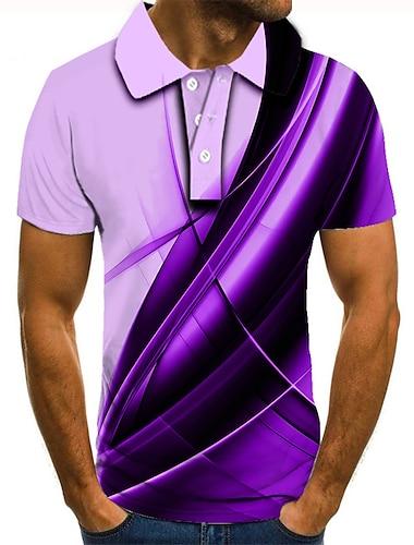 Hombre Camiseta de golf Camiseta de tenis Impresion 3D Estampados Lineal Abotonar Manga Corta Calle Tops Casual Moda Fresco Morado / Deportes