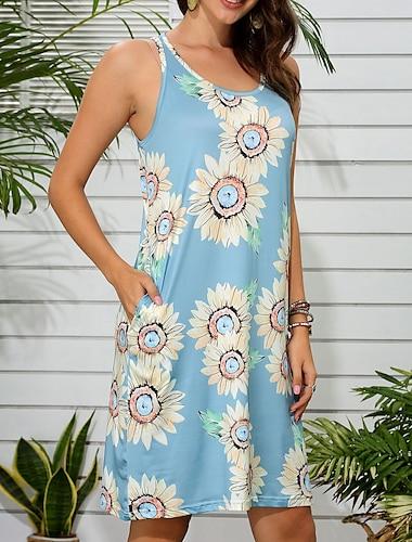 Women\'s Shift Dress Knee Length Dress Blue Light Purple Sleeveless Sunflower Plant Flower Summer U Neck Casual / Daily Sun Flower 2021 S M L XL XXL XXXL 4XL 5XL