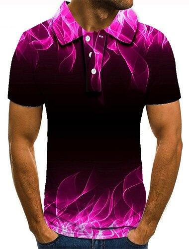 Hombre Camiseta de golf Camiseta de tenis Impresion 3D Estampados Geometria Abotonar Manga Corta Calle Tops Casual Moda Fresco Rosa / Deportes