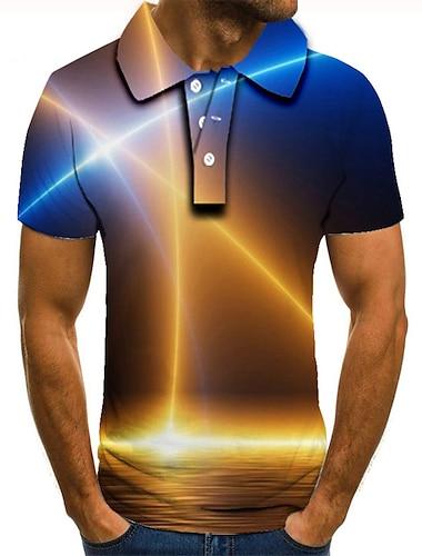 Men\'s Golf Shirt Tennis Shirt 3D Print Graphic Prints Linear Button-Down Short Sleeve Street Tops Casual Fashion Cool Blue / Sports