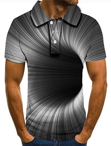 Męskie Koszula golfowa Koszula tenisowa Druk 3D Wzór 3D Geometria Przycisk w dół Krótki rękaw Ulica Najfatalniejszy Codzienny Moda Nowoczesne Szary / Sport