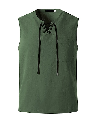 Per uomo maglietta Tinta unita Senza maniche Quotidiano Top Bianco Nero Verde militare