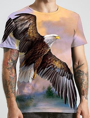 Herre Unisex T-Shirts T-shirt 3D-udskrivning Grafiske tryk -rn Dyr Plusstørrelser Trykt mønster Kortærmet Afslappet Toppe Mode Designer Stor og høj Lilla