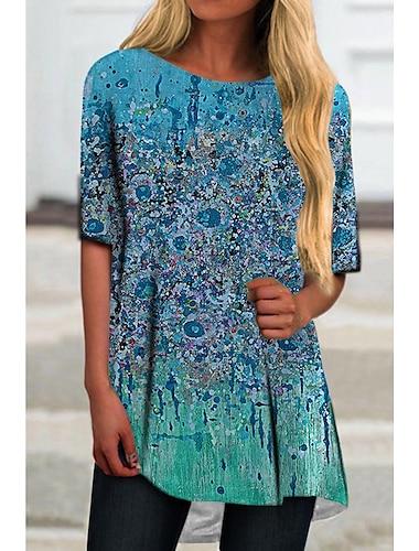 Γυναικεία Κοντομάνικο φόρεμα Μίνι φόρεμα Θαλασσί Μισό μανίκι Φλοράλ Στάμπα Ελαιογραφία Στάμπα Άνοιξη Καλοκαίρι Στρογγυλή Λαιμόκοψη Καθημερινό Αργίες 2021 Τ M L XL XXL 3XL