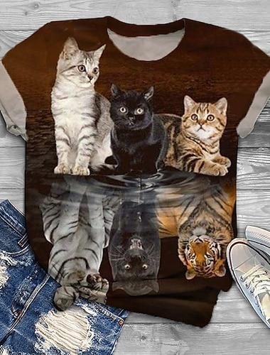여성용 플러스 크기 탑스 T 셔츠 고양이 그래픽 동물 프린트 짧은 소매 크루 넥 베이직 푸른 레드 와인 클로버 큰 사이즈 XL XXL 3XL 4XL 5XL / 플러스 사이즈 / 홀리데이 / 플러스 사이즈