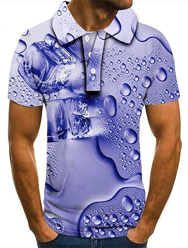 Homens Camisa de golfe Camisa de tenis Impressao 3D Estampado Cashemere Estampas Abstratas Botao para baixo Manga Curta Rua Blusas Casual Moda Legal Azul / Esportes