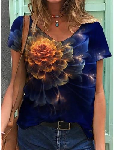 Dámské Tričko Květinový Grafika Tisk Do V Topy Základní Plážový styl Základní top Vodní modrá Námořnická modř Duhová