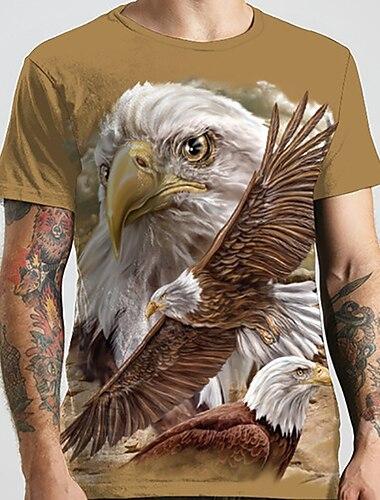 Men\'s Unisex Tee T shirt Shirt 3D Print Graphic Prints Eagle Animal Plus Size Print Short Sleeve Casual Tops Basic Designer Big and Tall Round Neck Khaki / Summer