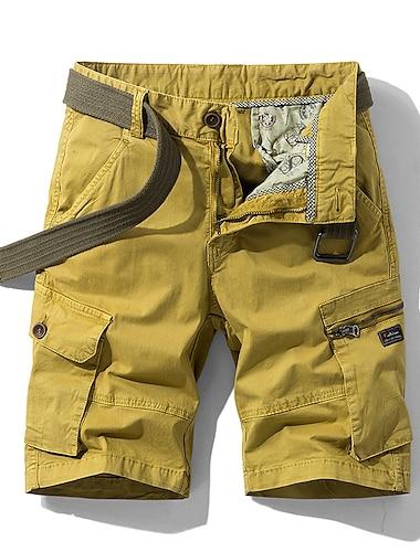 Homme Chino Shorts Cargo Short Pantalon cargo Decontractee du quotidien Pantalon Plein Court Poche Vert Veronese Gris Kaki Orange / Ete