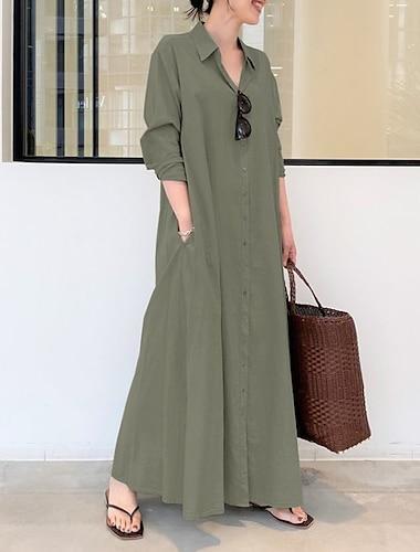 Γυναικεία Φόρεμα πουκαμίσα Μακρύ φόρεμα Μακρυμάνικο Συμπαγές Χρώμα Τσέπη Κουμπί Άνοιξη Καλοκαίρι Κολάρο Πουκαμίσου Κομψό Καθημερινό Φαρδιά 2021 Τ M L XL XXL XXXL 4XL 5XL / Βαμβάκι / Βαμβάκι