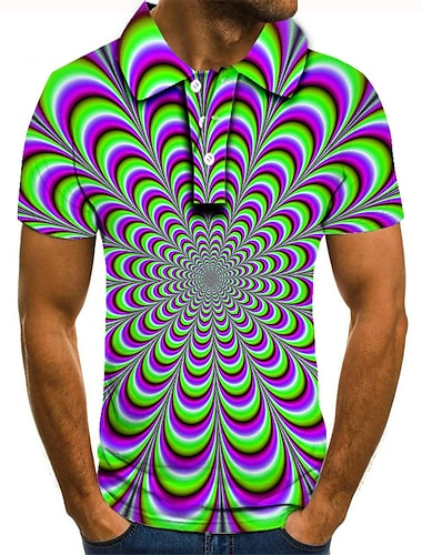 Męskie Koszula golfowa Koszula tenisowa Druk 3D Wzór 3D Geometria Przycisk w dół Krótki rękaw Ulica Najfatalniejszy Codzienny Moda Nowoczesne Zielony / Sport