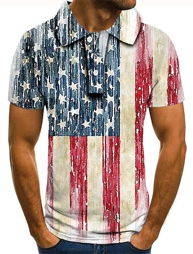 Men\'s Golf Shirt Tennis Shirt 3D Print Graphic Prints American Flag Button-Down Short Sleeve Street Tops Casual Fashion Cool Red / White / Sports