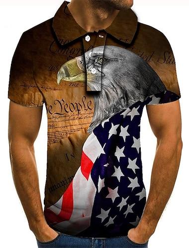 Men\'s Golf Shirt Tennis Shirt 3D Print Graphic Prints Eagle American Flag Button-Down Short Sleeve Street Tops Casual Fashion Cool Brown / Sports