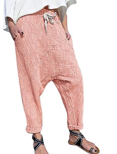 Dámské Základní Měkké Pohodlné Harémové Kalhoty chinos Volné Domů Denní Kalhoty Bez vzoru Plná délka Kapsy Pružný design se stahovací šňůrkou Fialová Světlá růžová Khaki Námořnická modř