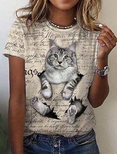 여성용 3D 고양이 T 셔츠 고양이 그래픽 3D 프린트 라운드 넥 베이직 탑스 화이트 베이지