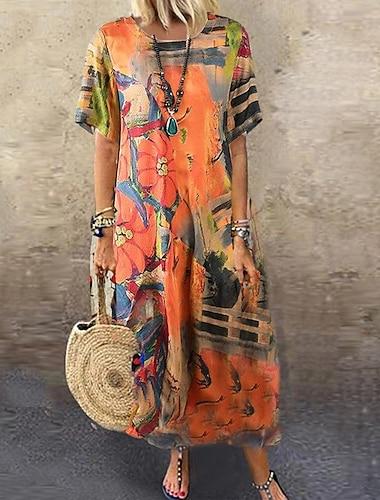 여성용 루즈핏 맥시 드레스 오렌지 짧은 소매 꽃 / 식물 여름 라운드 넥 엘레강트&럭셔리 캐쥬얼 루즈핏 2021 M L XL 2XL 3XL 4XL