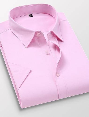 Férfi Ing nem-nyomó Egyszínű Tömör szín Rövid ujjú Napi Felsők Pamut Üzlet Alap Legombolt gallér Világos rózsaszín Medence Fehér / Munka