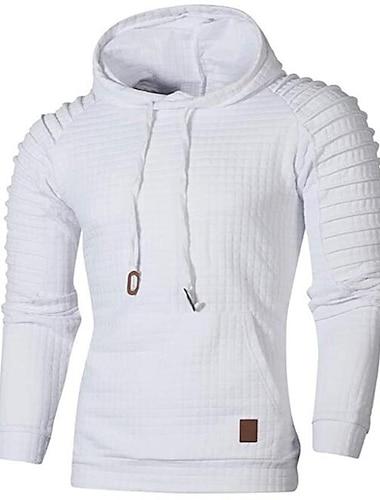 Herr Tröja med tröja Mönster Huva Dagligen icke-tryck Ledigt Pull Tröjor Långärmad Ljus kaki. Armégrön Ljusgrå
