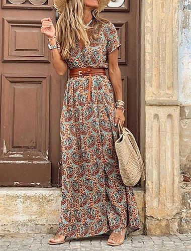 여성용 랩 드레스 맥시 드레스 루비 브라운 짧은 소매 플로럴 컬러 블럭 스플리트 주름장식 프린트 봄 여름 V 넥 우아함 빈티지 보호 2021 S M L XL XXL 3XL