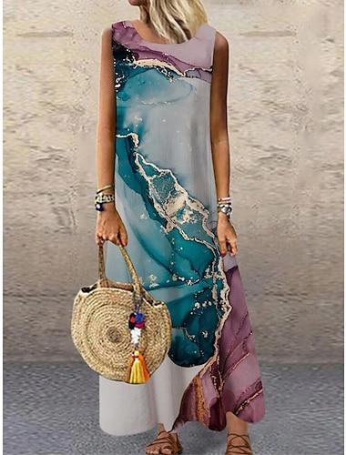 Γυναικεία Φόρεμα ριχτό Μακρύ φόρεμα Θαλασσί Βυσσινί Αμάνικο Στάμπα Διαβάθμιση χρώματος Στάμπα Άνοιξη Καλοκαίρι Στρογγυλή Λαιμόκοψη Καθημερινό Αργίες 2021 Τ M L XL XXL 3XL