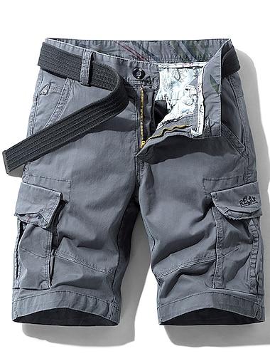 Homme Short Shorts Cargo Short Ample Pantalon Couleur Pleine Armee verte Kaki Gris Claire Gris Fonce