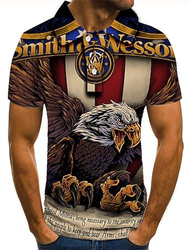 Men\'s Golf Shirt Tennis Shirt 3D Print Eagle Animal Button-Down Short Sleeve Street Tops Casual Fashion Cool Red / Sports