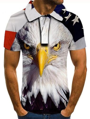 Men\'s Golf Shirt Tennis Shirt 3D Print Graphic Prints Eagle American Flag Button-Down Short Sleeve Street Tops Casual Fashion Cool White / Sports