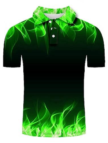 Hombre Camiseta de golf Camiseta de tenis Impresion 3D Estampados Serpentina Abotonar Manga Corta Calle Tops Casual Moda Fresco Verde Trebol / Deportes