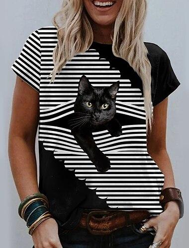 Dámské 3D kočka Tričko Proužky Kočka 3D Tisk Kulatý Základní Topy Černá