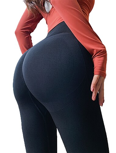 Women\'s High Waist Yoga Pants Scrunch Butt Seamless Tights Leggings Bottoms Tummy Control Butt Lift Violet Navy Light Purple Nylon Lycra Yoga Fitness Gym Workout Winter Sports Activewear High