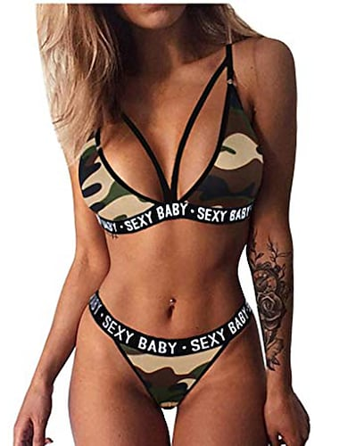 oldlover sexy kamuflážní plavky pro ženy bikiny s páskem, plavky, šněrování nahoru, push-up polstrovaná podprsenka + kalhotky
