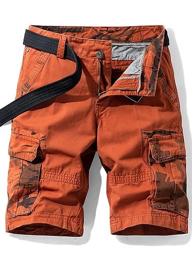 Homme Short Shorts Cargo Short Pantalon cargo Bermudas Pantalon camouflage Camouflage avec poche laterale Multi poche Armee verte Bleu Kaki Orange