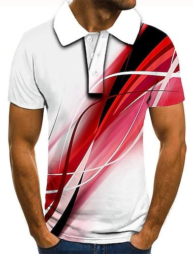 Hombre Camiseta de golf Camiseta de tenis Impresión 3D Estampados Lineal Abotonar Manga Corta Calle Tops Casual Moda Fresco Blanco / Deportes